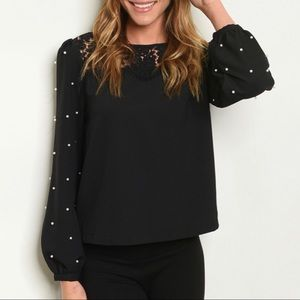 Pearls + Lace Long Sleeve Top